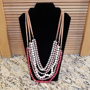 Loft cascade beades w suede necklace GUC